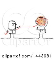 Poster, Art Print Of Stick Man Doctor Pulling A Doodle String From A Business Mans Brain