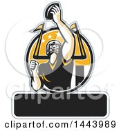 Clipart Of A Retro American Football Player Holding Up A Ball With Text Space For Super Bowl LI In A Black Yellow And White Circle Royalty Free Vector Illustration