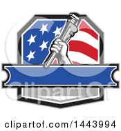 Retro Plumber Hand Holding A Pipe Monkey Wrench In An American Crest Over A Banner With Text Space