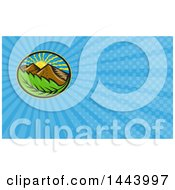 Clipart Of A Retro Oval Of The Sun Mountains And Leaf And Blue Rays Background Or Business Card Design Royalty Free Illustration