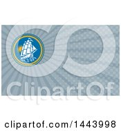 Poster, Art Print Of Sailing Galleon Ship In A Blue Circle With Rope And Blue Rays Background Or Business Card Design