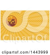 Clipart Of A Retro Mining Dump Truck In A Circle Of Mountains And A Sunset And Orange Rays Background Or Business Card Design Royalty Free Illustration