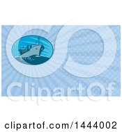 Clipart Of A Retro Cargo Ship And Blue Rays Background Or Business Card Design Royalty Free Illustration