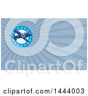 Clipart Of A Retro Blue Airplane Over A Circle Of Stars And Blue Rays Background Or Business Card Design Royalty Free Illustration