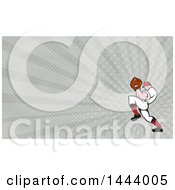 Cartoon Baseball Player Pitching And Rays Background Or Business Card Design