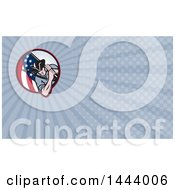 Retro Revolutionary Soldier Minute Man With An American Flag And Blue Rays Background Or Business Card Design