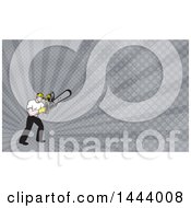 Retro Cartoon White Male Tree Surgeon Arborist Holding A Chainsaw And Gray Rays Background Or Business Card Design