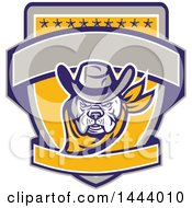 Clipart Of A Retro Cowboy Bulldog Sheriff On A Shield With Stars And Blank Banners Royalty Free Vector Illustration by patrimonio
