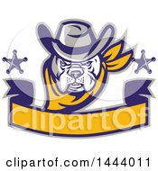Clipart Of A  Retro Cowboy Bulldog Sheriff With Stars Over A Blank Banner Royalty Free Vector Illustration