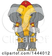Clipart Of A Sketched War Elephant With Armor Royalty Free Vector Illustration