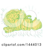 Clipart Of A Sketched Still Life Of Cauliflower Bell Peppers Onions And Carrots Royalty Free Vector Illustration