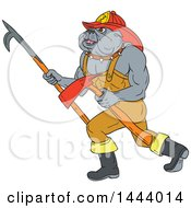 Clipart Of A Sketched Bulldog Fire Fighter Walking With A Pike Poke And Axe Royalty Free Vector Illustration by patrimonio