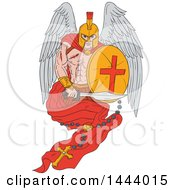 Poster, Art Print Of Sketched Wounded Spartan Warrior Angel Holding A Sword And Shield With A Rosary