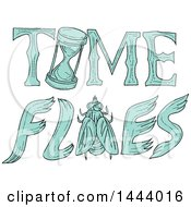 Clipart Of A Sketched Time Flies Design With A Bug And Hourglass Royalty Free Vector Illustration by patrimonio