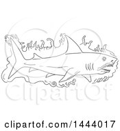 Clipart Of A Sketched Black And White Swimming Shark With Water Royalty Free Vector Illustration
