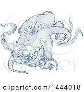 Clipart Of A Sketched Giant Octopus Attacking An Astronaut Royalty Free Vector Illustration