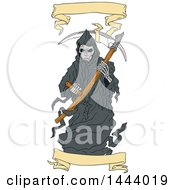 Clipart Of A Sketched Grim Reaper Holding A Scythe With Banners Royalty Free Vector Illustration by patrimonio