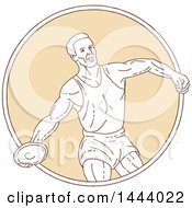 Poster, Art Print Of Mono Line Style Male Track And Field Athlete Discus Thrower In A Circle