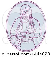 Mono Line Style Worker In A Haz Chem Suit Within An Oval