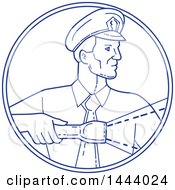 Clipart Of A Mono Line Style Police Officer Or Security Guard Shining A Flashlight In A Circle Royalty Free Vector Illustration by patrimonio