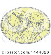Clipart Of A Mono Line Style Scene Of American Revolutionary Soldiers Marching With Rifles In An Oval Royalty Free Vector Illustration