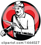 Clipart Of A Retro Woodcut Black And White Union Soldier Holding Pistol Set In A Red Circle Royalty Free Vector Illustration