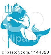 Clipart Of A Retro Blue And White Merman Triton Mythological God Holding A Trident Royalty Free Vector Illustration