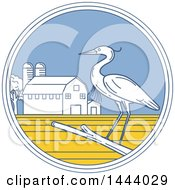 Clipart Of A Great Blue Heron Bird On A Branch In A Circle With A Barn And Silo Royalty Free Vector Illustration