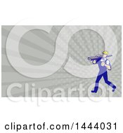 Poster, Art Print Of Retro Walking Carpenter Worker Holding A Thumb Up And Carrying Lumber On His Shoulder And Rays Background Or Business Card Design