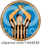 Clipart Of A Mono Line Style American Football Umpire Doing A Personal Foul Hand Signal In A Circle Royalty Free Vector Illustration by patrimonio