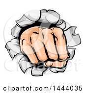 Clipart Of A Cartoon Fisted Hand Punching A Hole Through A Wall Royalty Free Vector Illustration