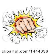 Clipart Of A Comic Explosion And Fisted Hand Royalty Free Vector Illustration by AtStockIllustration