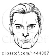 Clipart Of A Comic Styled Black And White Mans Face Royalty Free Vector Illustration