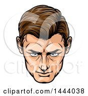 Clipart Of A Comic Styled Brunette Caucasian Mans Face Looking Upwards Royalty Free Vector Illustration