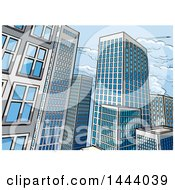 Clipart Of A Pop Art Comic Book Styled Scene Of City Skyscraper Buildings Royalty Free Vector Illustration by AtStockIllustration