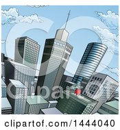 Clipart Of A Pop Art Comic Book Styled Scene Of City Skyscrapers Royalty Free Vector Illustration