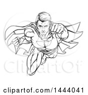 Clipart Of A Black And White Lineart Pop Art Comic Male Super Hero Flying Forward Royalty Free Vector Illustration