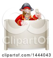 Cartoon Happy Male Pirate Captain Holding A Treasure Map And Pointing Over A Scroll Sign