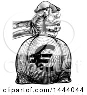 Clipart Of A Black And White Engraved Or Woodcut Styled Hand Holding Out A Burlap Euro Money Bag Sack To Pay Taxes Royalty Free Vector Illustration by AtStockIllustration