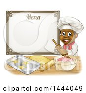 Clipart Of A Cartoon Happy Black Male Chef Baker Mixing Frosting And Making Cookies Under A Menu Royalty Free Vector Illustration