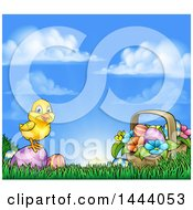 Cute Yellow Chick On Easter Eggs And A Basket In The Grass Over A Sunny Sky