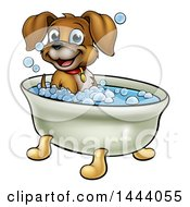 Clipart Of A Cartoon Happy Puppy Dog Soaking In A Bubble Bath Royalty Free Vector Illustration