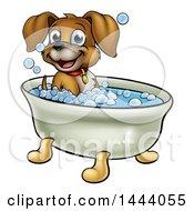 Cartoon Happy Puppy Dog Soaking In A Bubble Bath