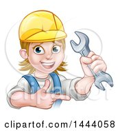 Clipart Of A Cartoon Happy White Female Mechanic Wearing A Hard Hat Holding Up A Wrench And Pointing Royalty Free Vector Illustration