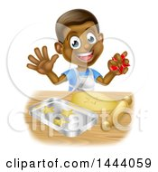 Clipart Of A Happy Black Boy Making Star Shaped Cookies Royalty Free Vector Illustration