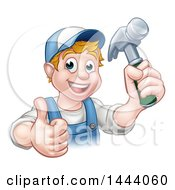 Cartoon Happy White Male Carpenter Holding A Hammer And Giving A Thumb Up