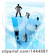 Clipart Of A 3d Blue Bar Graph With Silhouetted Business Men Competing To Reach The Top Royalty Free Vector Illustration