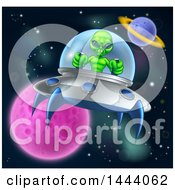 Poster, Art Print Of Green Alien Steering A Ufo In Outer Space