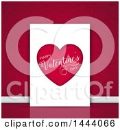 Happy Valentines Day Greeting Card Against A Damask Wall
