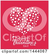 Clipart Of A Happy Valentines Day Greeting Under White Hearts On Pink Royalty Free Vector Illustration